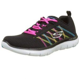 Zapatillas Skechers de mujer negras con color